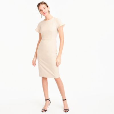 Petite ruffle-sleeve sheath dress in Italian stretch wool