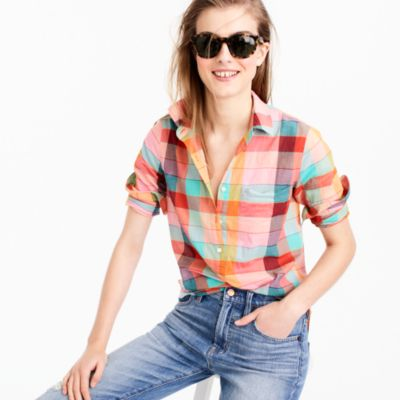 Tall lightweight popover in rainbow vintage plaid