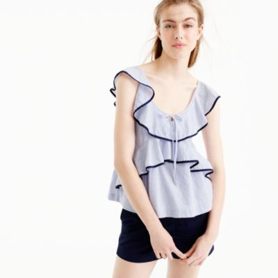 Petite tipped ruffle top in stripe