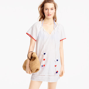 Embroidered linen-cotton pom-pom cover-up