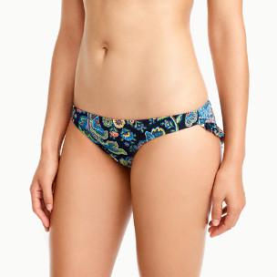 Ruffle-back bikini bottom in floral paisley print
