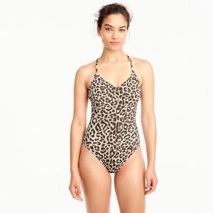 T-back one-piece swimsuit in leopard print
