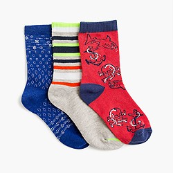 Boys' patchwork socks three-pack