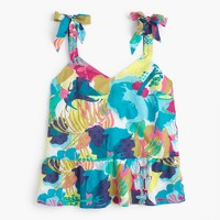 Tie-shoulder peplum top in seaside floral
