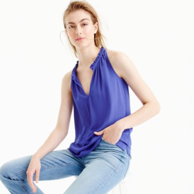 Drapey ruffle-neck top