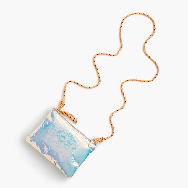 Girls' iridescent pouchette bag
