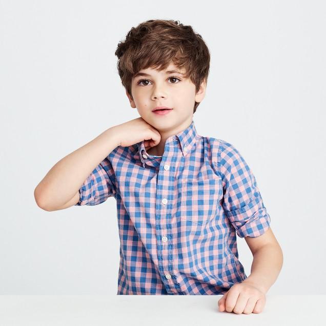 Kids' Secret Wash shirt in heathered gingham