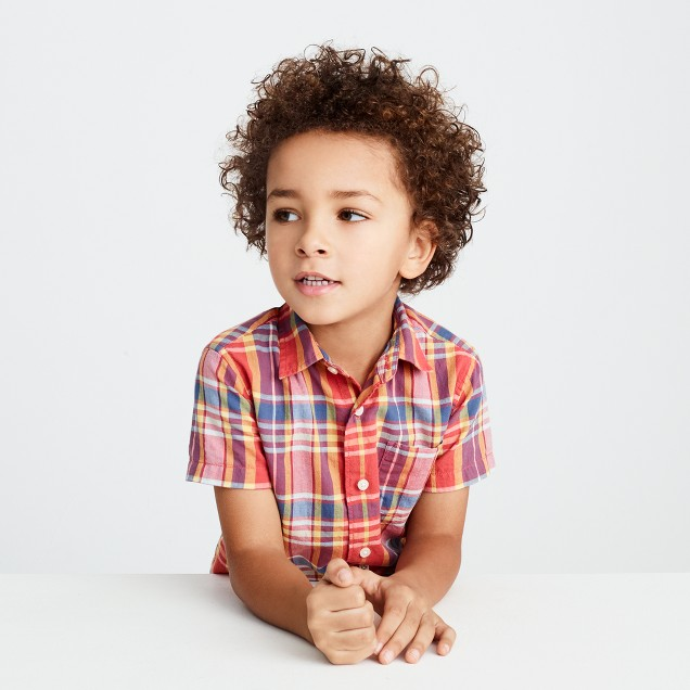 Kids' short-sleeve shirt in madras plaid
