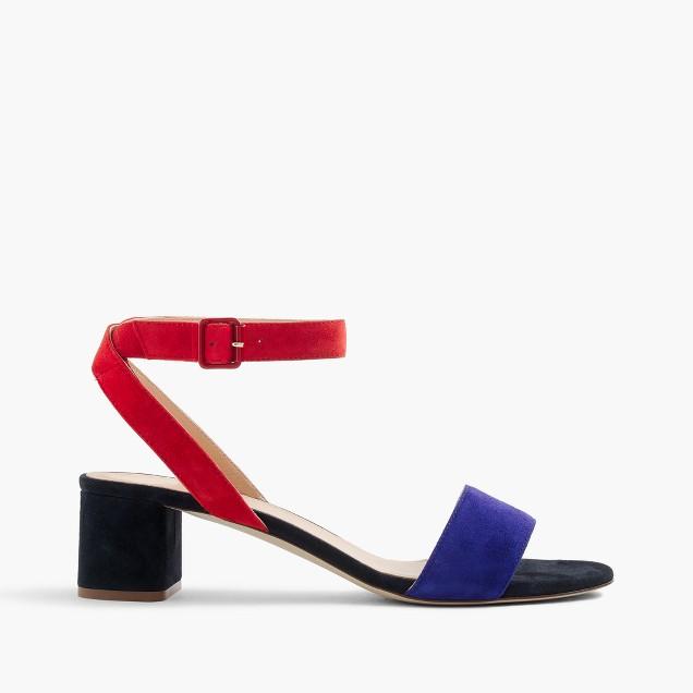 Lottie colorblock suede sandals