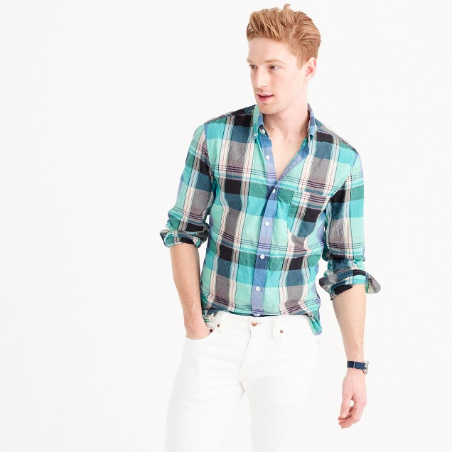 Slim Indian madras shirt in teal surf