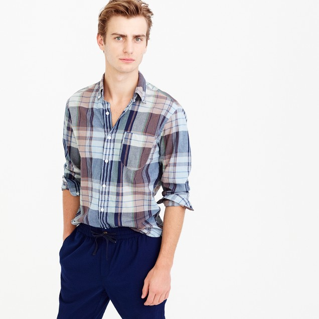 Tall Indian madras shirt in seaside lawn