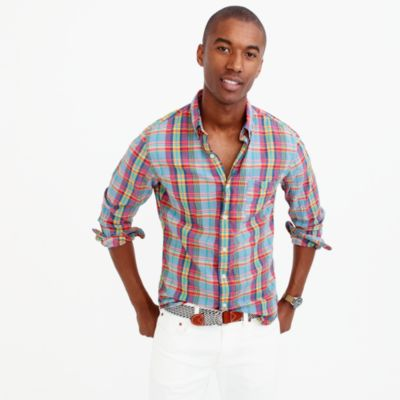 Slim Indian madras shirt in multicolor plaid