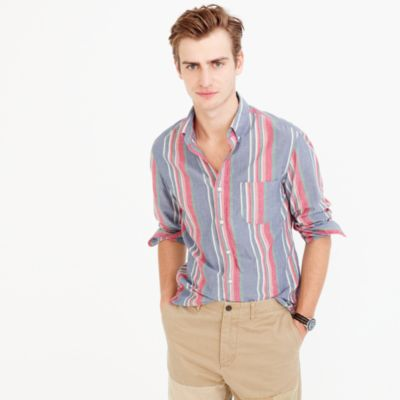 Slim Indian madras shirt in multistripe