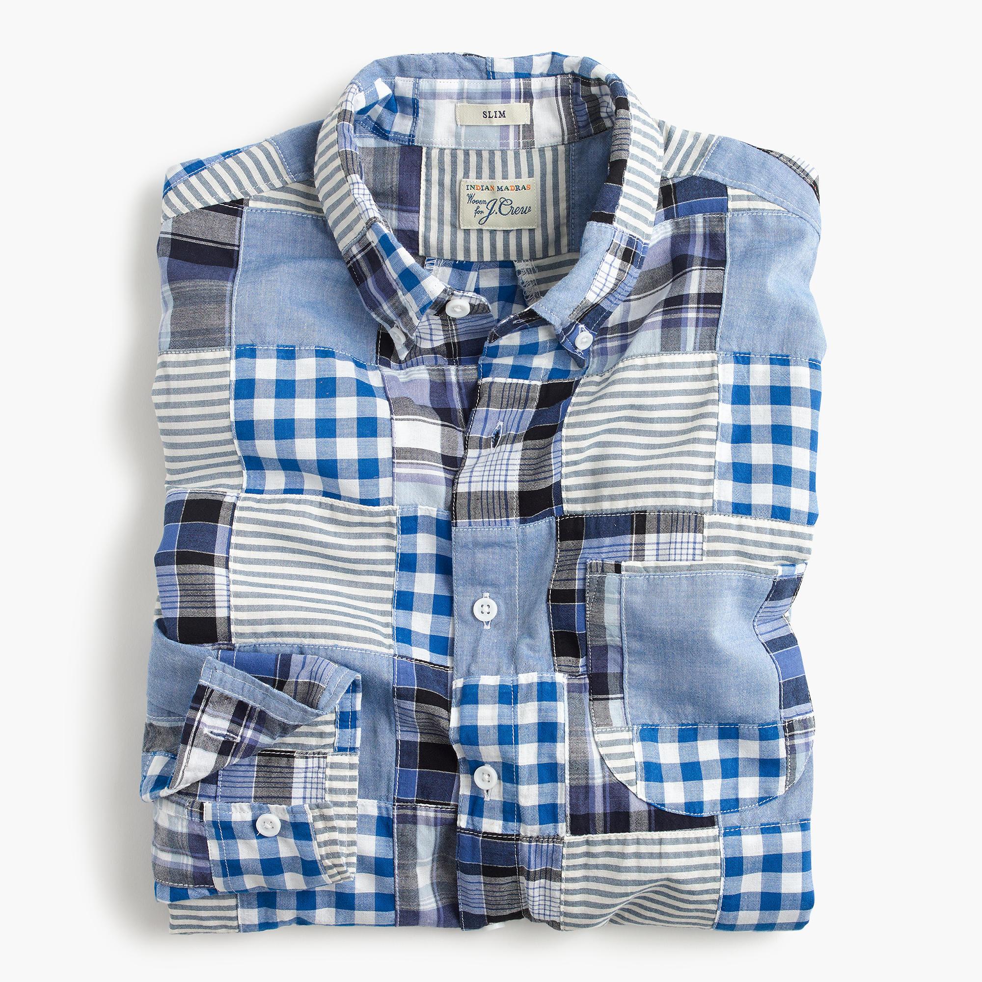 Slim indian madras shirt in blue patchwork men for Mens madras shirt sale