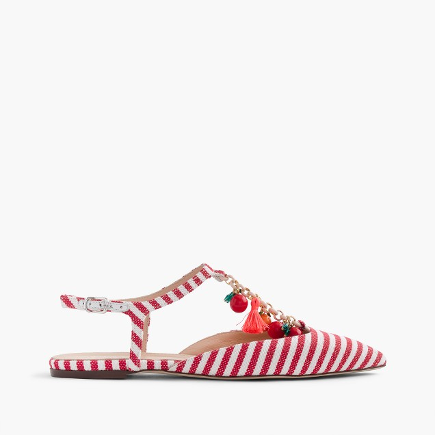 Striped pointed-toe flats with chain link