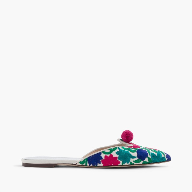 Floral embroidered pointed-toe mules