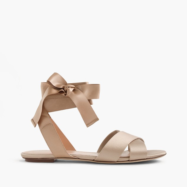 Satin cross-strap sandals