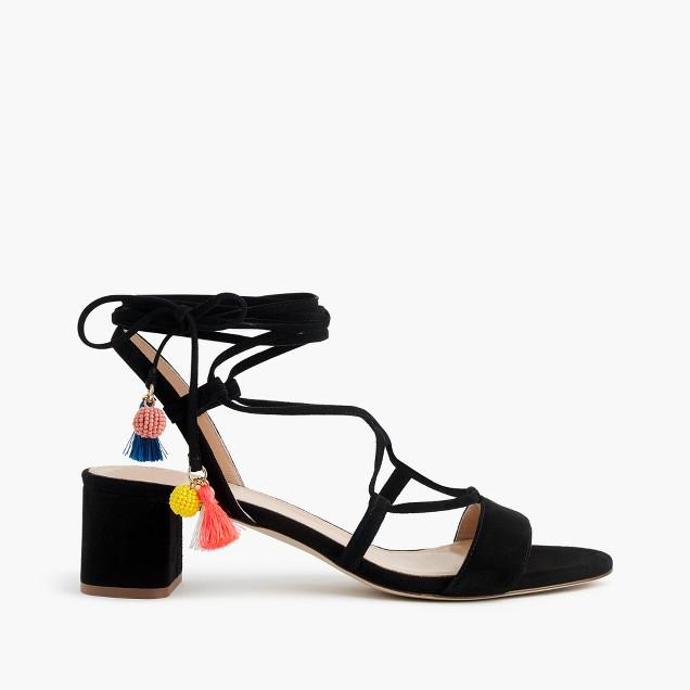 Suede lace-up sandals