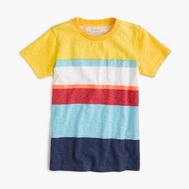 Boys' pocket T-shirt in mixed stripe
