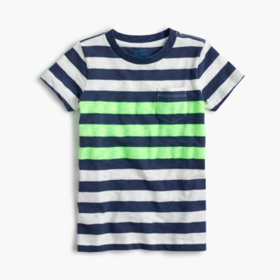 Boys' slub neon striped T-shirt