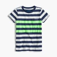 Boys' slub neon striped T-shirt