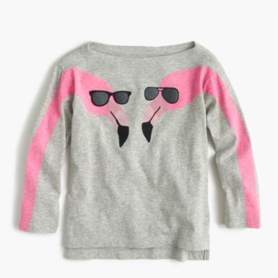 Girls' T-shirt in flamingos print