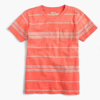 Boys' slub pocket T-shirt in skinny stripe