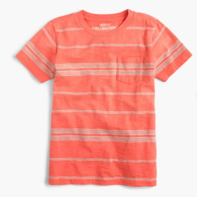 Boys' slub pocket T-shirt in skinny stripe