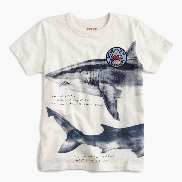 "Boys' ""license to be jaw-some"" shark T-shirt"