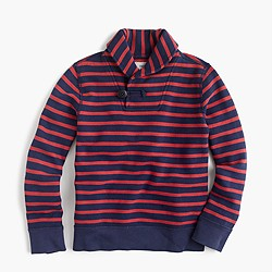 Boys' striped shawl-collar terry sweater