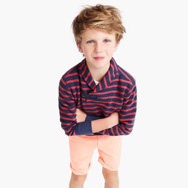 Boys' striped shawl-collar terry sweater