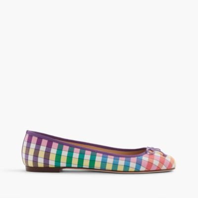 Camille ballet flats in rainbow gingham print