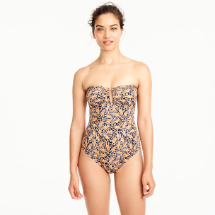 Drake's® for J.Crew U-front bandeau one-piece swimsuit in giraffe print