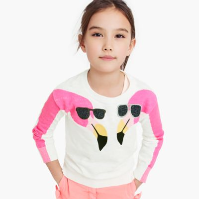 Girls' popover sweater in flamingos print