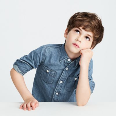 Kids' washed denim shirt