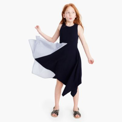 Girls' contrast handkerchief dress