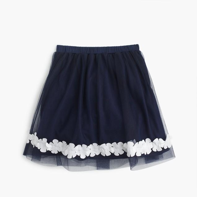 Girls' floral trim tulle skirt
