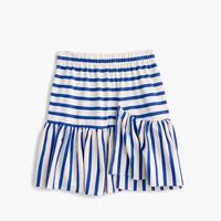 Girls' striped pull-on skirt with asymmetrical ruffle hem