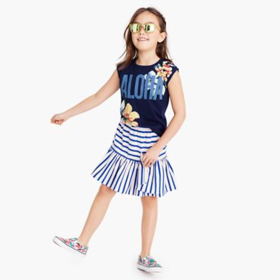 Girls' striped pull-on skirt with asymmetrical ruffle hem