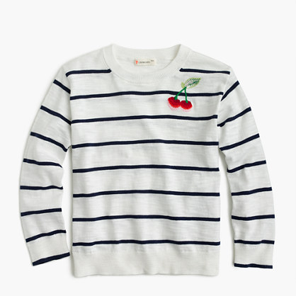 Girls' striped popover sweater with cherries