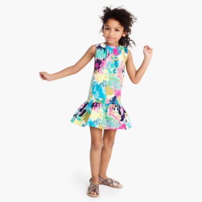 Girls' ruffle-hem dress in seaside floral