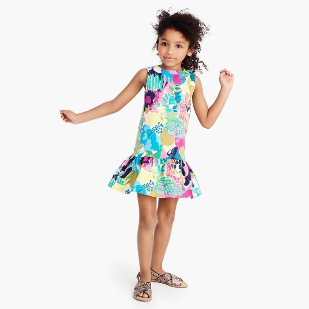 Girls' ruffle-hem dress in seaside floral