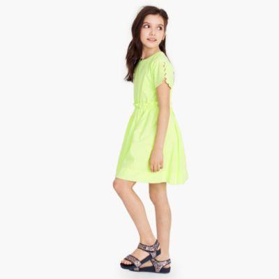 Girls' eyelet-sleeve dress