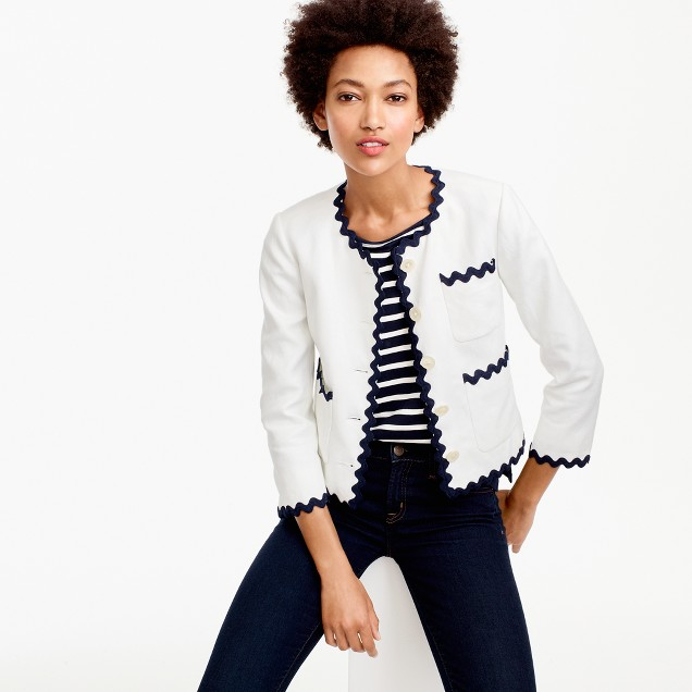 Lady jacket with rickrack trim