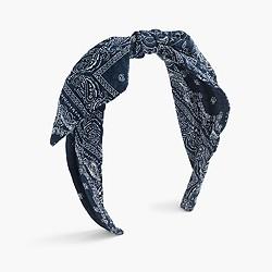 Girls' topknot headband in bandana print