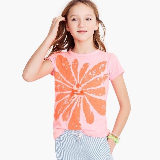 Girls' tassel flower T-shirt