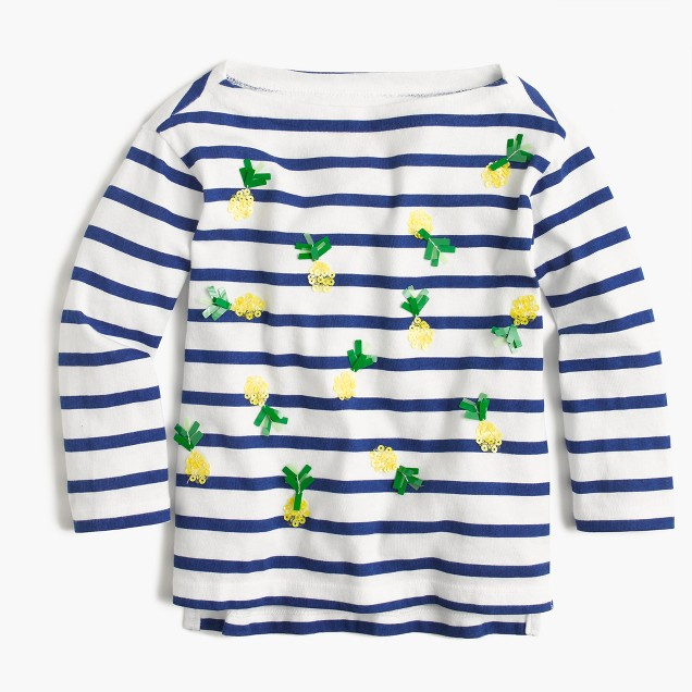 Girls' striped T-shirt with sequin pineapples