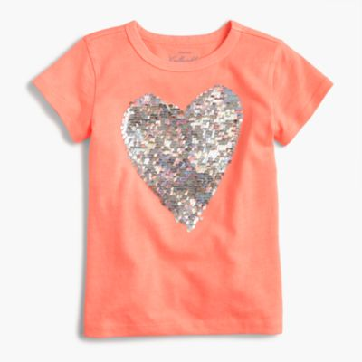 Girls' two-sided sequin heart T-shirt