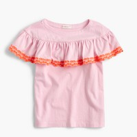 Girls' embroidered ruffle-shoulder top