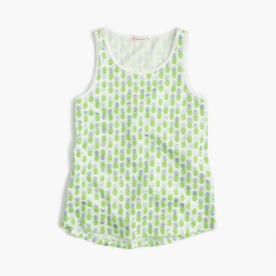 Girls' tank top in foil pineapple print